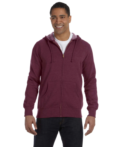 Berry Men's 7 oz. Organic/Recycled Heathered Full-Zip Hood as seen from the front