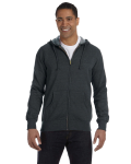 Charcoal Men's 7 oz. Organic/Recycled Heathered Full-Zip Hood as seen from the front