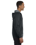 Charcoal Men's 7 oz. Organic/Recycled Heathered Full-Zip Hood as seen from the sleeveleft