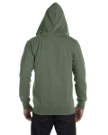 Military Green Men's 7 oz. Organic/Recycled Heathered Full-Zip Hood as seen from the back