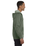 Military Green Men's 7 oz. Organic/Recycled Heathered Full-Zip Hood as seen from the sleeveleft