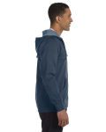 Water Men's 7 oz. Organic/Recycled Heathered Full-Zip Hood as seen from the sleeveleft