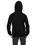 Black MADE IN USA Youth Flex Fleece Zip Hoodie as seen from the back