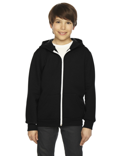 Black MADE IN USA Youth Flex Fleece Zip Hoodie as seen from the front