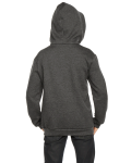 Dk Heather Grey MADE IN USA Youth Flex Fleece Zip Hoodie as seen from the back
