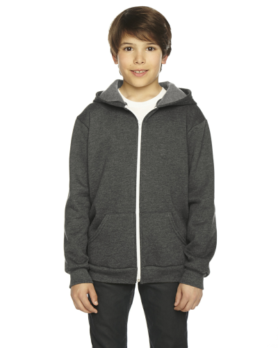 Dk Heather Grey MADE IN USA Youth Flex Fleece Zip Hoodie as seen from the front