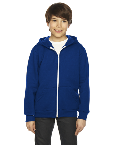 Lapis MADE IN USA Youth Flex Fleece Zip Hoodie as seen from the front