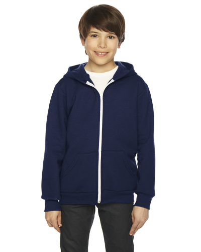 Navy MADE IN USA Youth Flex Fleece Zip Hoodie as seen from the front