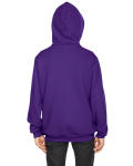 Purple MADE IN USA Youth Flex Fleece Zip Hoodie as seen from the back