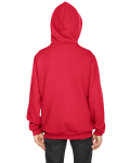 Red MADE IN USA Youth Flex Fleece Zip Hoodie as seen from the back