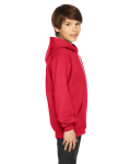 Red MADE IN USA Youth Flex Fleece Zip Hoodie as seen from the sleeveleft