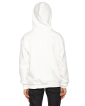 White MADE IN USA Youth Flex Fleece Zip Hoodie as seen from the back