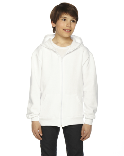 White MADE IN USA Youth Flex Fleece Zip Hoodie as seen from the front