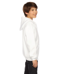 White MADE IN USA Youth Flex Fleece Zip Hoodie as seen from the sleeveleft