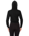 Black MADE IN USA Ladies' Cropped Flex Fleece Zip Hoodie as seen from the back