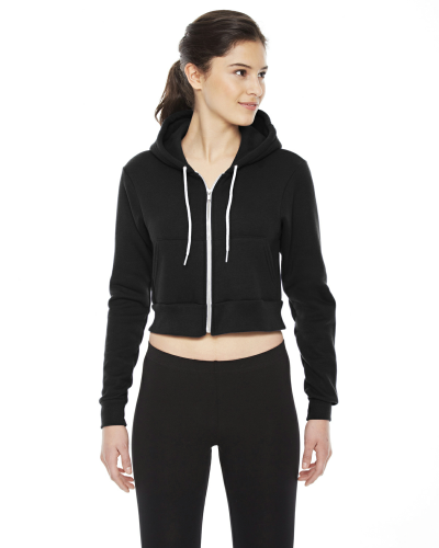 Black MADE IN USA Ladies' Cropped Flex Fleece Zip Hoodie as seen from the front