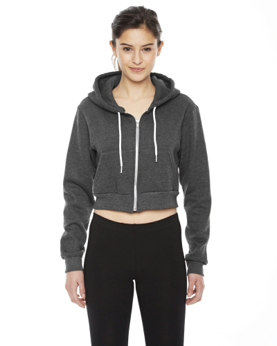 Dk Heather Grey MADE IN USA Ladies' Cropped Flex Fleece Zip Hoodie as seen from the front
