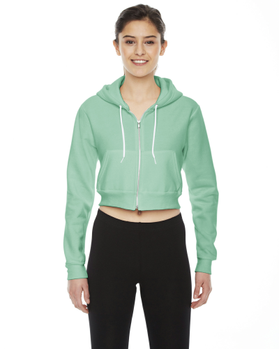 Menthe MADE IN USA Ladies' Cropped Flex Fleece Zip Hoodie as seen from the front