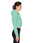 Menthe MADE IN USA Ladies' Cropped Flex Fleece Zip Hoodie as seen from the sleeveleft