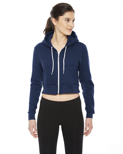 Navy MADE IN USA Ladies' Cropped Flex Fleece Zip Hoodie as seen from the front