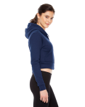 Navy MADE IN USA Ladies' Cropped Flex Fleece Zip Hoodie as seen from the sleeveleft