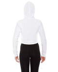 White MADE IN USA Ladies' Cropped Flex Fleece Zip Hoodie as seen from the back