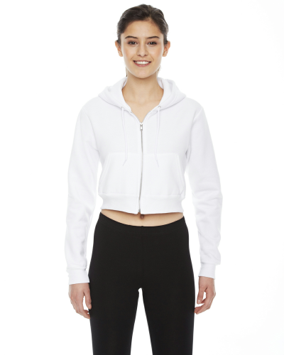 White MADE IN USA Ladies' Cropped Flex Fleece Zip Hoodie as seen from the front