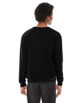 Black MADE IN USA Unisex Flex Fleece Drop Shoulder Pullover Crewneck as seen from the back