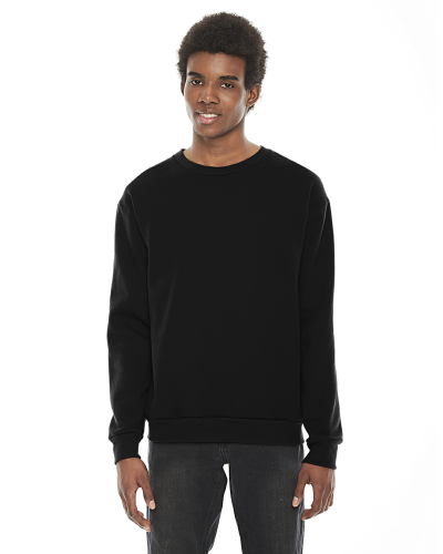 Black MADE IN USA Unisex Flex Fleece Drop Shoulder Pullover Crewneck as seen from the front