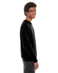 Black MADE IN USA Unisex Flex Fleece Drop Shoulder Pullover Crewneck as seen from the sleeveleft