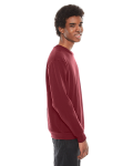 Cranberry MADE IN USA Unisex Flex Fleece Drop Shoulder Pullover Crewneck as seen from the sleeveleft