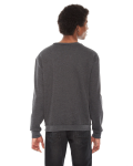 Dk Heather Grey MADE IN USA Unisex Flex Fleece Drop Shoulder Pullover Crewneck as seen from the back
