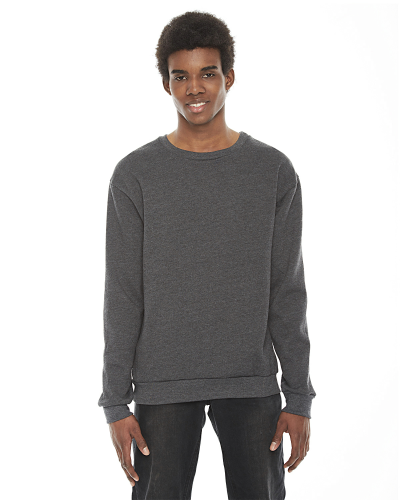 Dk Heather Grey MADE IN USA Unisex Flex Fleece Drop Shoulder Pullover Crewneck as seen from the front