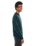 Forest MADE IN USA Unisex Flex Fleece Drop Shoulder Pullover Crewneck as seen from the sleeveleft