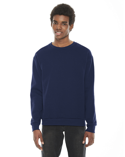 Navy MADE IN USA Unisex Flex Fleece Drop Shoulder Pullover Crewneck as seen from the front