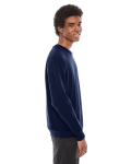 Navy MADE IN USA Unisex Flex Fleece Drop Shoulder Pullover Crewneck as seen from the sleeveleft