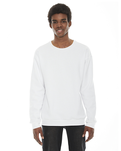 White MADE IN USA Unisex Flex Fleece Drop Shoulder Pullover Crewneck as seen from the front