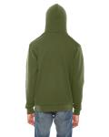 Barrack Green MADE IN USA Unisex Flex Fleece Zipper Hoodie as seen from the back
