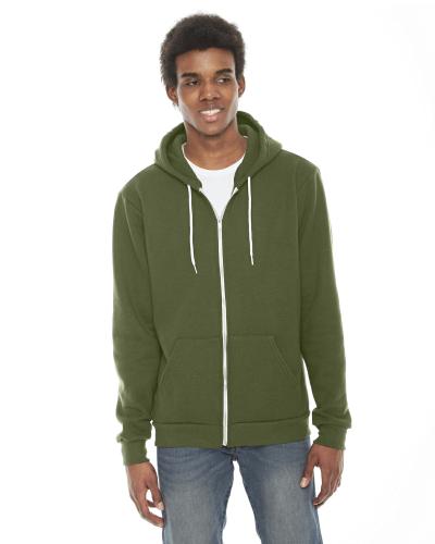 Barrack Green MADE IN USA Unisex Flex Fleece Zipper Hoodie as seen from the front