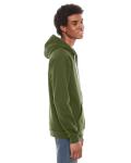 Barrack Green MADE IN USA Unisex Flex Fleece Zipper Hoodie as seen from the sleeveleft