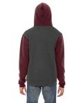 Dk Hth Gry Trffl MADE IN USA Unisex Flex Fleece Zipper Hoodie as seen from the back