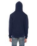 Navy MADE IN USA Unisex Flex Fleece Zipper Hoodie as seen from the back