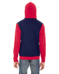 Navy Red MADE IN USA Unisex Flex Fleece Zipper Hoodie as seen from the back