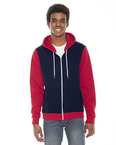 Navy Red MADE IN USA Unisex Flex Fleece Zipper Hoodie as seen from the front