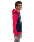 Navy Red MADE IN USA Unisex Flex Fleece Zipper Hoodie as seen from the sleeveleft