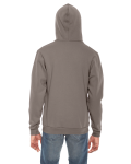 Pewter MADE IN USA Unisex Flex Fleece Zipper Hoodie as seen from the back
