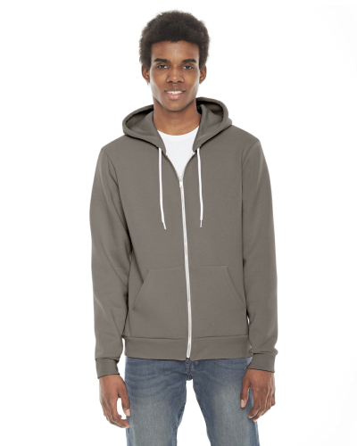 Pewter MADE IN USA Unisex Flex Fleece Zipper Hoodie as seen from the front