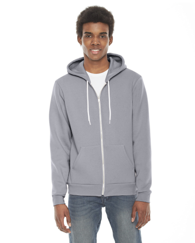 Slate MADE IN USA Unisex Flex Fleece Zipper Hoodie as seen from the front