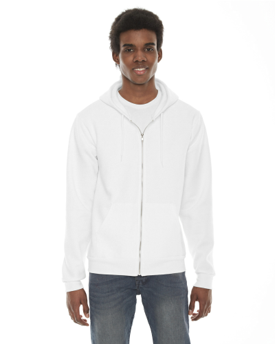 White MADE IN USA Unisex Flex Fleece Zipper Hoodie as seen from the front