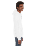 White MADE IN USA Unisex Flex Fleece Zipper Hoodie as seen from the sleeveleft